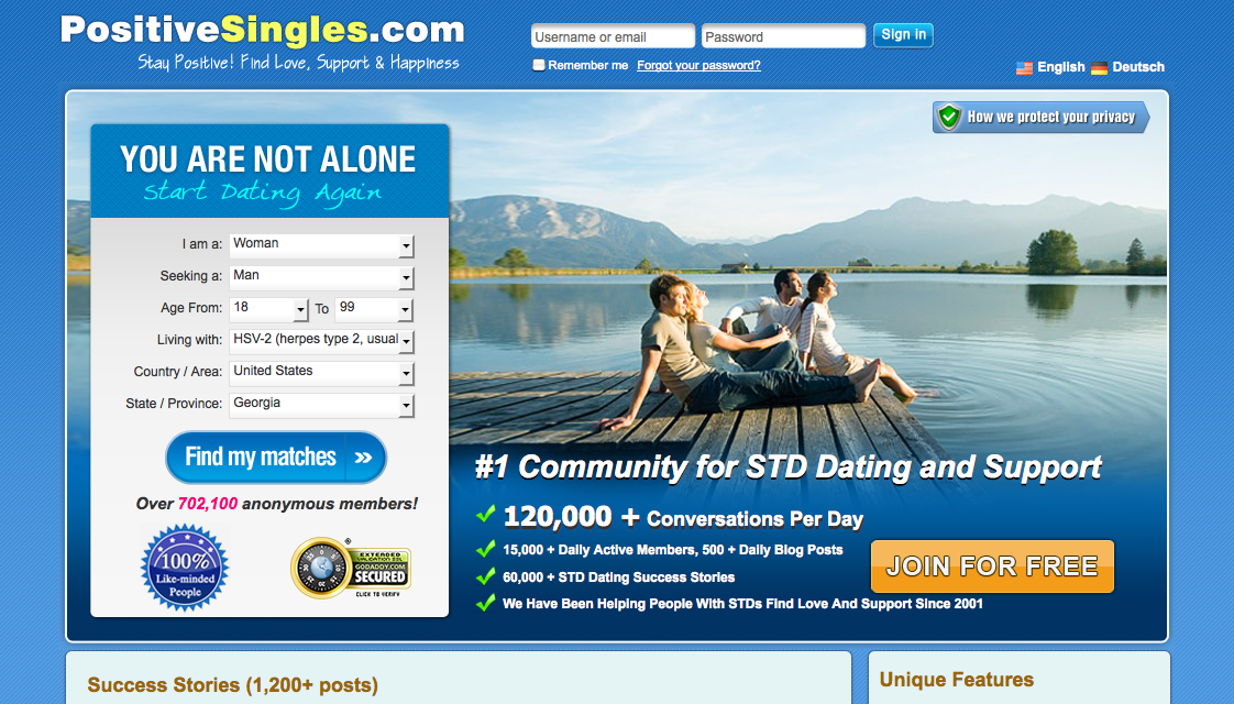 screenshot of the positive singles website