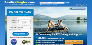 screenshot of positive singles website