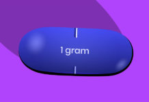 blue valtrex pill on purple background