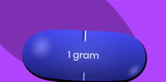 blue valtrex pill on purple background