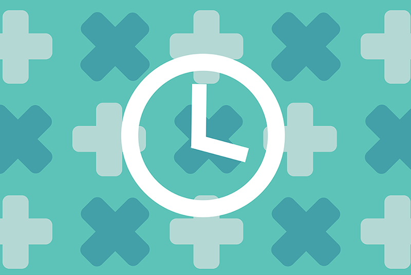 Clock on medical background to know when to get tested for chlamydia and how soon.