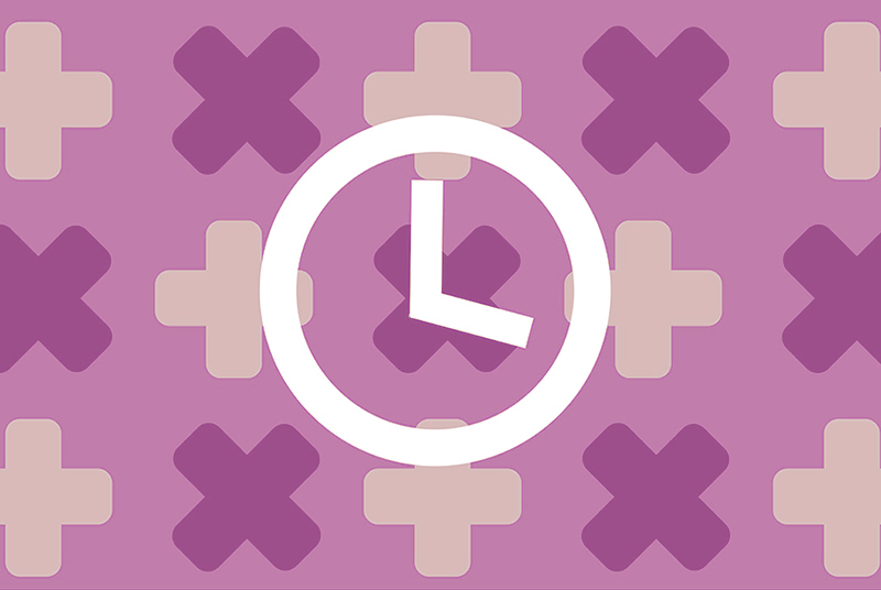 Illustration of clock on medical motif background, for article about when to get tested for HIV and AIDS
