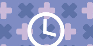 Illustration of clock on medical motif background, for article about when to get tested for HPV